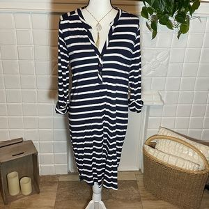 LA Made Navy And White Striped 3/4 Sleeve Dress